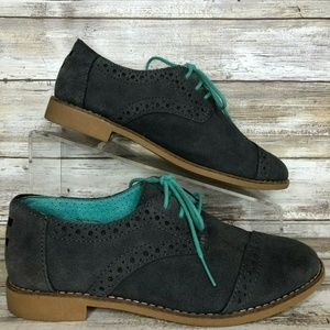 Toms 6.5M Gray Suede Oxford Lace Up Shoe